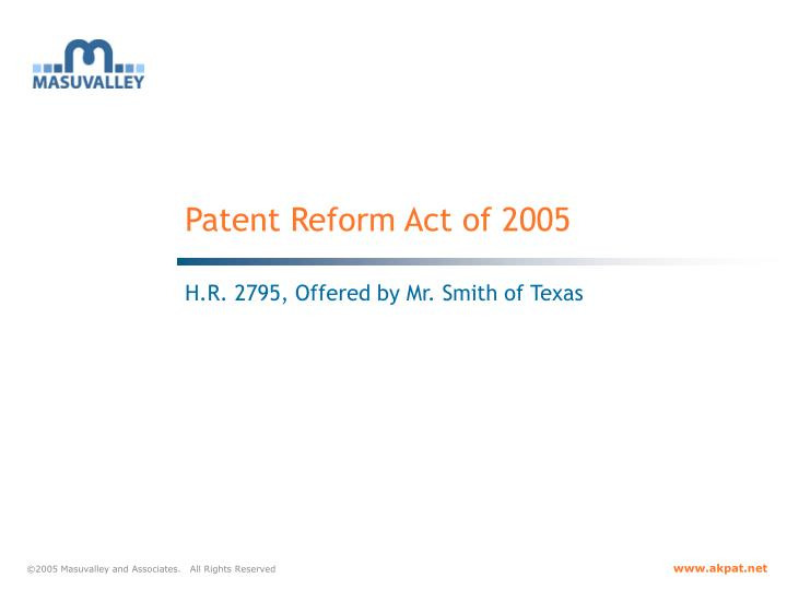 patent reform act of 2005 n.