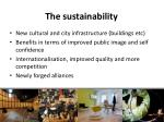 the sustainability