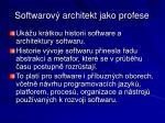 softwarov architekt jako profese