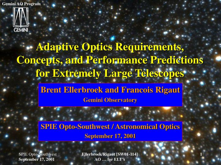 adaptive optics requirements concepts and performance predictions for extremely large telescopes n.