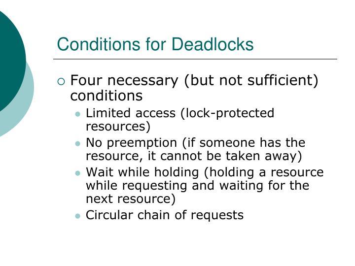 Conditions for Deadlocks