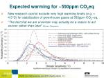 expected warming for 550ppm co 2 eq1