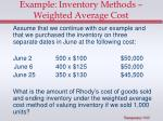 example inventory methods weighted average cost