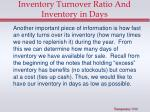 inventory turnover ratio and inventory in days
