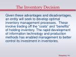 the inventory decision