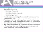 aligns to the standards and reflects good practice4