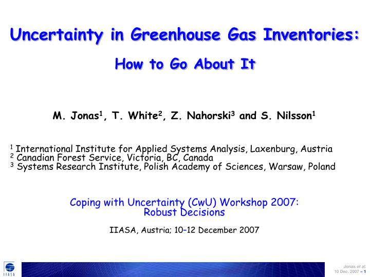 uncertainty in greenhouse gas inventories how to go about it n.