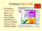 creating a n ew slide