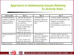 approach to addressing issues relating to activity data