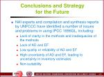 conclusions and strategy for the future