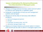 issues in estimating co 2 emissions removals from abandonment of managed lands