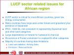 lucf sector related issues for african region