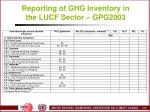 reporting of ghg inventory in the lucf sector gpg2003