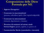 composizione delle diete formula per ne
