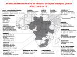 les investissements chinois en afrique quelques exemples ann e 2008 source ci