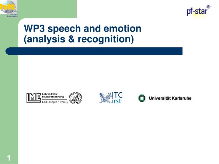 wp3 speech and emotion analysis recognition n.