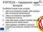 p a pteca a ssessment arviointi