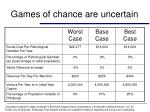 games of chance are uncertain