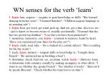 wn senses for the verb learn