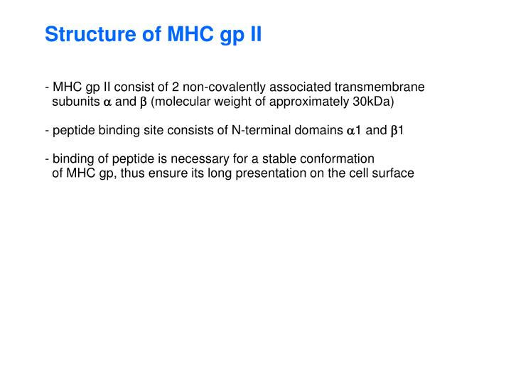 Structure of MHC gp II