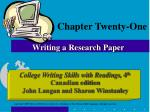 chapter twenty one writing a research paper
