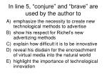 in line 5 conjure and brave are used by the author to