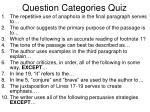 question categories quiz