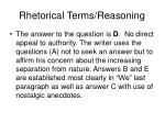 rhetorical terms reasoning