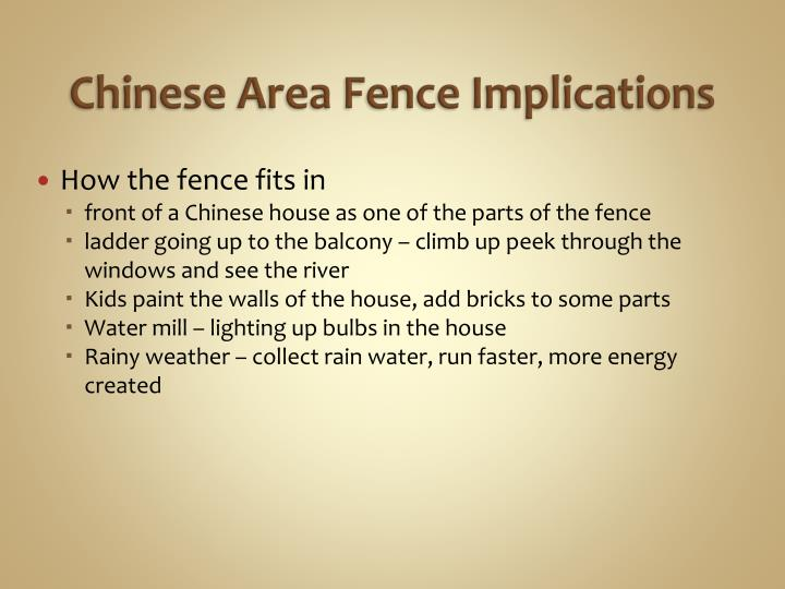Chinese Area Fence Implications