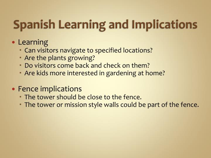 Spanish Learning and Implications