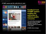 stomp readers get the authorities to react