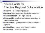 seven habits for effective regional collaboration