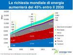 la richiesta mondiale di energia aumenter del 45 entro il 2030