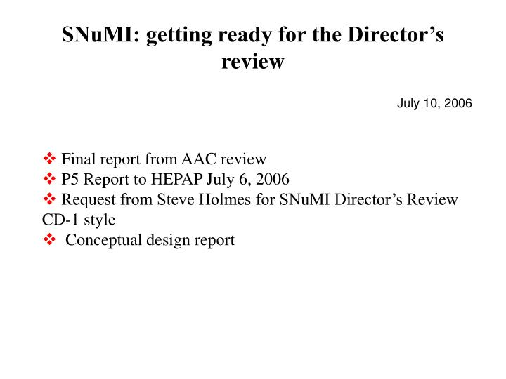 snumi getting ready for the director s review n.