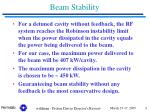 beam stability