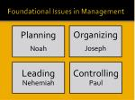 foundational issues in management