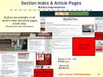 section index article pages button impressions