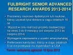 fulbright senior advanced research awards 2013 2014