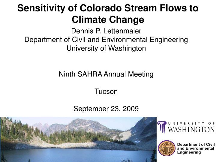 sensitivity of colorado stream flows to climate change n.