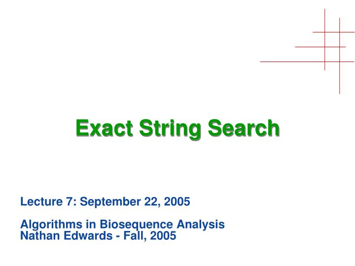 exact string search n.