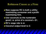 robinson crusoe as a firm