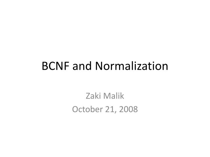 bcnf and normalization n.