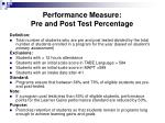 performance measure pre and post test percentage