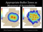 appropriate buffer zones as measures of accessibility