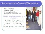 saturday math content workshops