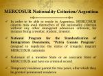 mercosur nationality criterion argentina