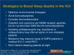 strategies to boost sleep quality in the icu