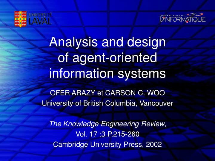 analysis and design of agent oriented information systems n.