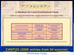 cantus 200k entries from 50 sources
