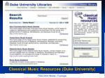 classical music resources duke university
